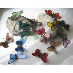 Flutterbys - stained glass butterflies by Pamela Angus