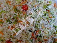 Ramen Cole Slaw This stuff is great in the Summer time. Especially when it is hot. No mayo. Slaw Recipes, Wine Recipes, Healthy Recipes, Healthy Foods, Coleslaw, Ramen, Pickles, Cabbage, Salads
