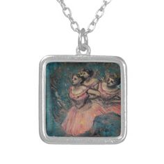 Three Dancers in Red Costume by Edgar Degas Custom Necklace