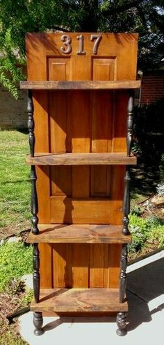 Shabby Shelves - an old door. we could make plant shelves & sell them? Repurposed Items, Repurposed Furniture, Shabby Chic Furniture, Painted Furniture, Vintage Furniture, Furniture Projects, Furniture Makeover, Home Projects, Diy Furniture