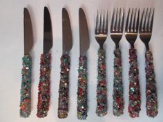 bestek met kralen / cutlery with beads by Linda van Deursen