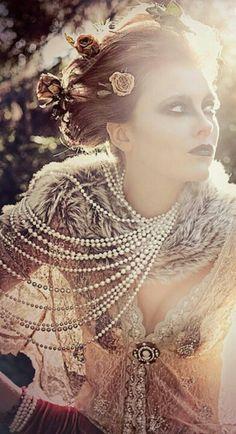 pearls, crowns, rhinestones, tulle