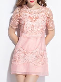 ¡Cómpralo ya!. Pink Sheer Gauze Embroidered Shift Dress. Pink Round Neck Short Sleeve Polyester Shift Short Embroidery Fabric has no stretch Summer Casual Day Dresses. , vestidoinformal, casual, informales, informal, day, kleidcasual, vestidoinformal, robeinformelle, vestitoinformale, día. Vestido informal  de mujer color rosa de SheIn.