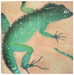 Ralph Kiggell, Green Lizard, 2000, woodblock print