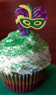 Mardi Gras Feather Mask Cupcake