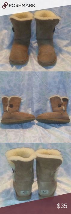 Ugg bailey button Has some water spotting and some dirt but still have a lot of life in them.Not sure of authenticity. UGG Shoes Ankle Boots & Booties