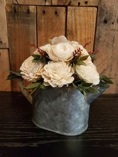 rustic, tin, metal, wood flowers, flowers, watering can, greenery, farmhouse, kitchen decor
