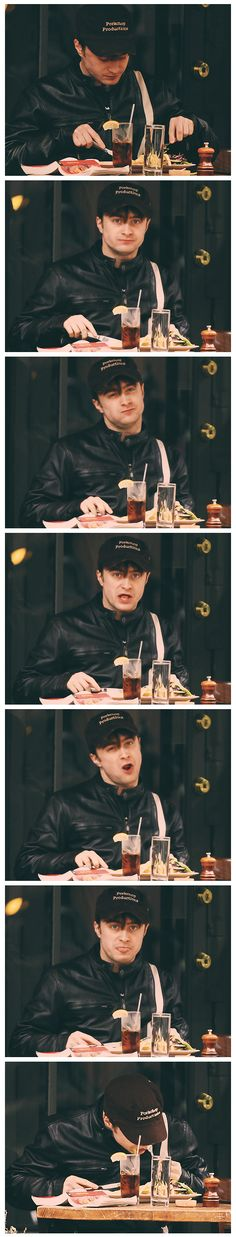 What happens when paparazzi catch Daniel Radcliffe eating. haha!