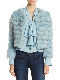 ALICE AND OLIVIA Fawn Silver Fox And Rabbit Fur Jacket. #aliceandolivia #cloth #jacket