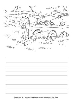 Use this fun printable story paper to write about the Loch Ness Monster, Scotland's famous friendly monster! Monster Activities, Monster Crafts, Book Activities, Monster Coloring Pages, Colouring Pages, Katie Morag, Loch Ness Monster, Celtic Patterns, Play Based Learning