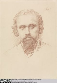 Study, Head of a Bearded Man by Alphonse Legros. Red chalk on cream laid paper.