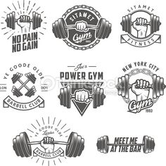 Set of vintage gym emblems, labels and design elements - Tap the pin if you love super heroes too! Cause guess what? you will LOVE these super hero fitness shirts!