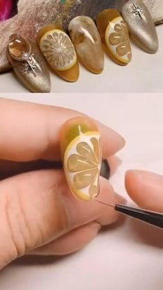 You can Buy These Nail Art Thin Brushes and Gel Paint Online by Clicking the link Nail Art Hacks, Nail Art Diy, Diy Nails, Swag Nails, Nail Art Designs Videos, Nail Art Videos, Nail Art Fruit, Fruit Nail Designs, Pretty Nail Art