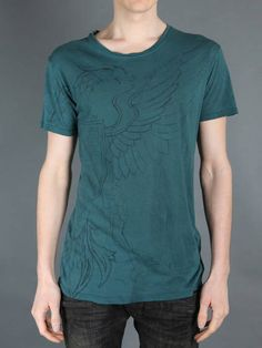 BALMAIN MEN'S NEW COLLECTION OVERSIZED ROUND NECK T-SHIRT WITH EAGLE PRINT