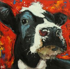 Cow painting 722 20x20 inch animal original oil painting by Roz