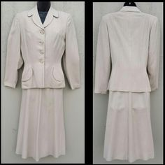 1940s Women's Ecru Tailored Suit 50 % off during the Red Tag Sale April 22 - 25 at Toinette's on Ruby Lane