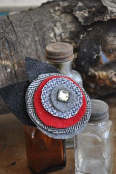 UPcycled Wool Felt Flower Brooch with Vintage by AuracaunaDesigns, $12.00