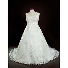 A-line Square Court Train Plus Size Wedding Dress  – USD $ 249.99