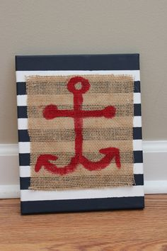 Nautical Decor Striped Canvas with Anchor Painted on Burlap