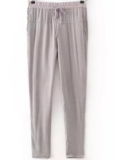 Grey Drawstring Waist Rivet Pant