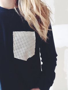 black and white polka dot pocket tee - long sleeve, any size. $18.00 via Etsy