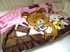 "San x Rilakkuma Bear Chocolate Coffee Comfort Coral Fleece Blanket 35 5"" x 53""   eBay"