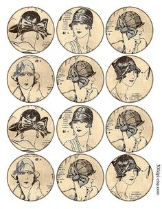 2.5 inch circles Digital Collage Sheet Printable Download vintage retro french fashion magazine girls large round images tag card