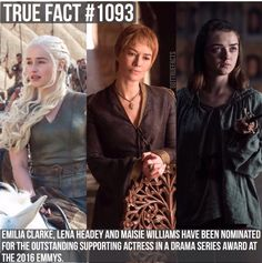 💕 Game Of Thrones Facts, Got Game Of Thrones, The North Remembers, Cersei Lannister, Lena Headey, Maisie Williams, Khaleesi, Emilia Clarke, True Facts