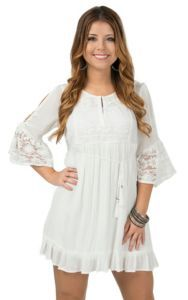 Double Zero Women's White with Lace Cold Shoulder Peasant Dress | Cavender's