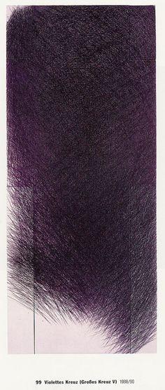 "Kreuz V, 1 - violett (Kat. by Arnulf Rainer. The prints in Arnulf Rainer's etching series Kreuz (meaning ""cross""), use the. Pablo Picasso, Arnulf Rainer, Art Informel, Tachisme, Purple Art, Contemporary Abstract Art, Mark Making, Hanging Art, Art Plastique"