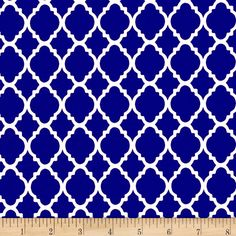 Quatrefoil Royal/White from @fabricdotcom  This cotton print fabric is perfect for quilting, apparel and home decor accents. Colors include white and royal blue.