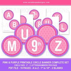 This complete alphabet of free printable banner circles are perfect for any occasion! Each collection includes letters A-Z, numbers 1st-10th, and two blank circles, perfect for birthdays or any other occasion.