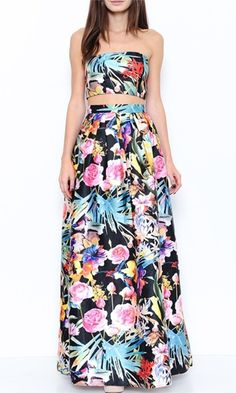 Blossoming Beauty Black White Pink Blue Yellow Floral Sleeveless Crop Tube Top Two Piece Maxi Dress