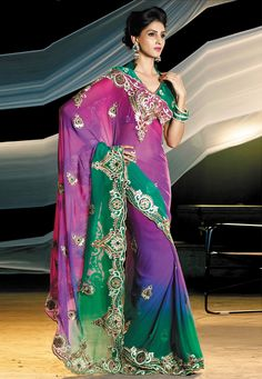 Pink, Purple and Green Faux Chiffon Sari