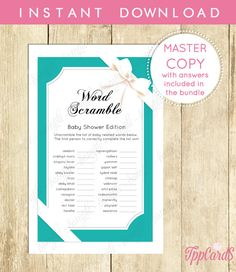 Baby Shower Word Scramble Game Printable Digital Instant Download Baby And  Co For Boy And Girl Unisex Activities Unique Activity 0031