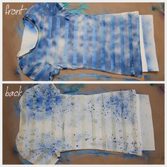 Mix up stripes and fabric spray paint in a fun DIY Striped T-shirt using fabric spray paint from Tulip. I was inspired to make this . T Shirt Vest, T Shirt Diy, T Shirt Remake, Fabric Spray Paint, Meme Design, Diy Tops, Recycled T Shirts, Shirt Refashion, Textiles