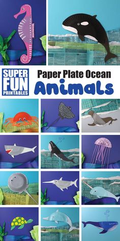 DIY Bastelideen mit Pappteller Meeres Tiere - - Create gorgeous paper plate ocean animals with this ebook containing 14 unique ocean animal templates as well as fascinating facts on each creature. Sea Animal Crafts, Whale Crafts, Sea Crafts, Animal Crafts For Kids, Paper Plate Crafts For Kids, Dinosaur Crafts, Rock Crafts, Paper Crafts, Watercolor Jellyfish