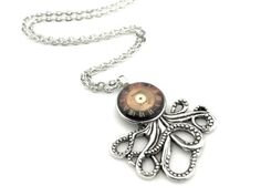 Clockworks-Octopus-Pendant-Watch-Face-Octopus-Necklace-Clockpunk-Octopus Octopus Jewelry, Steampunk Octopus, Pendant Watch, Watch Faces, Pocket Watch, Watches, Accessories, Ebay, Clocks