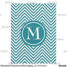 Monogram Turquoise & White Zigzag - Fleece Blanket