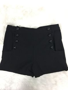 Voodoo Vixen Evie Shorts Sz Large High Waist Black Stretch Rockabilly Pin Up VLV  | eBay