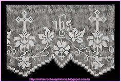 Risultati immagini per lace fillet with grapes Crochet Lace Edging, Love Crochet, Crochet Doilies, Knit Crochet, Crochet Patterns, Faith Crafts, Crochet Placemats, Catholic Crafts, Fillet Crochet