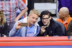 """Snapshot: March 11 - Diplo And Skrillex  - """"Can you hear me now? I'm going to drop a surprise album tonight!"""" Before the release of his new album, Recess (which features Diplo), Skrillex takes a selfie with Diplo at the Los Angeles Clippers versus Phoenix Suns game on March 10 in Los Angeles"""