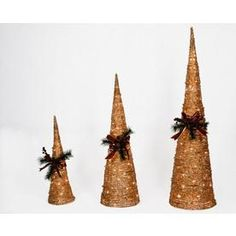 Holiday Living Set of 3 4-ft Grapevine Cone Christmas Trees...cost 99.00 at Lowes I can make these!