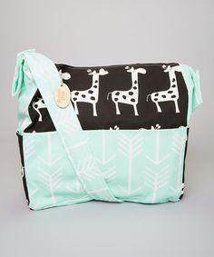 Loving this Black Giraffe & Mint Arrow Diaper Bag on #zulily! #zulilyfinds