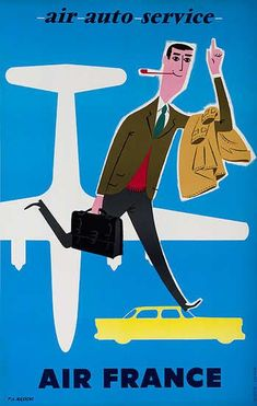 DP Vintage Posters - Air France Air Auto Service Original Travel Poster