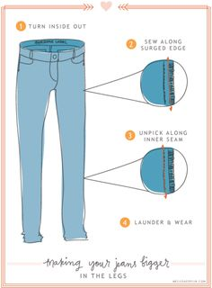 How to make skinny jeans bigger Sewing Hacks, Sewing Tutorials, Sewing Crafts, Sewing Projects, Sewing Patterns, Sewing Ideas, Craft Tutorials, Sewing Tips, Craft Projects