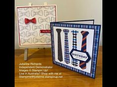 Two masculine cards featuring the Handsomely Suited Bundles from Stampin Up! stampinwithjulianne - YouTube Masculine Birthday Cards, Birthday Cards For Men, Man Birthday, Masculine Cards, Scrapbook Cards, Scrapbooking, Fathers Day Cards, Stamping Up Cards, Cool Cards