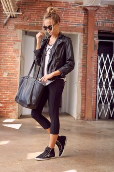 Sport to Street: Athletic Inspired Everyday Luxe. Faux Leather Jacket + Joggers