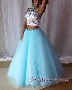 2016 beautiful light blue tulle two pieces prom dress with sequins top, ball gown, prom dresses long #coniefox #2016prom