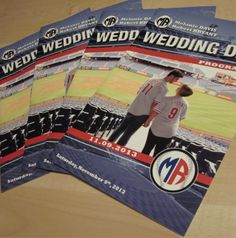 Our Baseball Wedding Programs are custom designed using personal photos of the bride and groom.  They're a great way to relay wedding day info to your guests.  Order today!  #baseballwedding